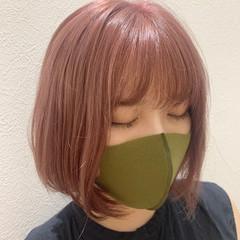 ガーリー ボブ ピンクベージュ ピンクカラー ヘアスタイルや髪型の写真・画像