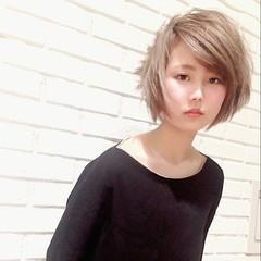 ストリート 外国人風 ブラウン ショート ヘアスタイルや髪型の写真・画像