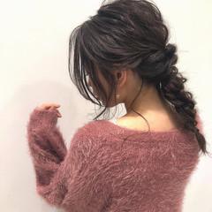 セミロング 簡単ヘアアレンジ ナチュラル グレージュ ヘアスタイルや髪型の写真・画像