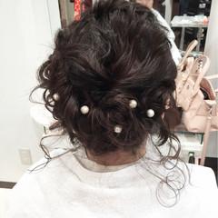 ゆるふわ ミディアム ヘアアレンジ 二次会 ヘアスタイルや髪型の写真・画像