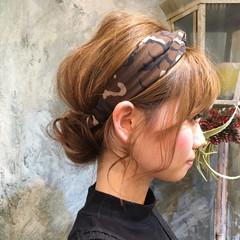 ハーフアップ ミディアム ヘアアレンジ ショート ヘアスタイルや髪型の写真・画像