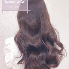 ブリーチなし イルミナカラー ラベンダーグレージュ 透明感カラー ヘアスタイルや髪型の写真・画像
