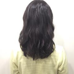 アッシュ 暗髪 ローライト ミディアム ヘアスタイルや髪型の写真・画像