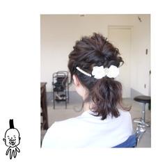ミディアム ヘアアレンジ ポニーテール 結婚式 ヘアスタイルや髪型の写真・画像