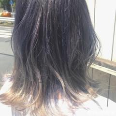 ヘアアレンジ グラデーションカラー ボブ アッシュ ヘアスタイルや髪型の写真・画像