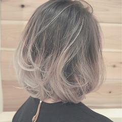 ストリート 冬 ボブ ホワイト ヘアスタイルや髪型の写真・画像