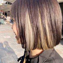 インナーカラー ブリーチカラー ショートボブ ボブ ヘアスタイルや髪型の写真・画像
