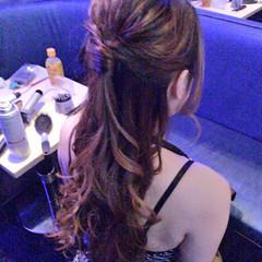 アップスタイル ハーフアップ ロング ヘアアレンジ ヘアスタイルや髪型の写真・画像