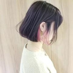 インナーカラー ピンク ボブ パープル ヘアスタイルや髪型の写真・画像