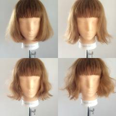 ナチュラル ボブ オン眉 秋 ヘアスタイルや髪型の写真・画像