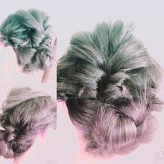 編み込み 黒髪 ヘアアレンジ セミロング ヘアスタイルや髪型の写真・画像