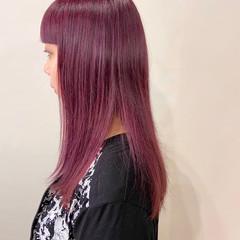 ロング ストリート ラベンダーピンク ベリーピンク ヘアスタイルや髪型の写真・画像