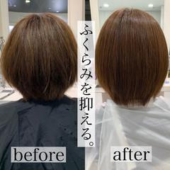 縮毛矯正 ショートボブ ナチュラル ストレート ヘアスタイルや髪型の写真・画像