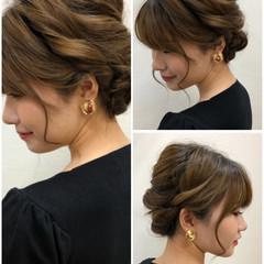 ガーリー 結婚式 ゆるふわセット セミロング ヘアスタイルや髪型の写真・画像