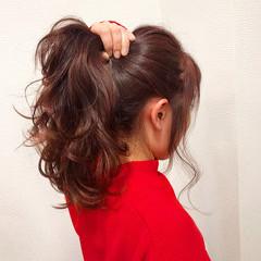 ロング ポニーテール ヘアアレンジ 波ウェーブ ヘアスタイルや髪型の写真・画像