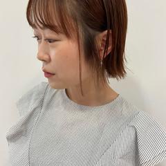ピンクベージュ オレンジカラー ナチュラル オレンジベージュ ヘアスタイルや髪型の写真・画像