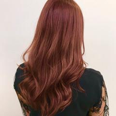 ピンクブラウン ピンク フェミニン レッドブラウン ヘアスタイルや髪型の写真・画像
