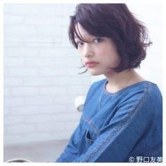 暗髪 大人かわいい パーマ ボブ ヘアスタイルや髪型の写真・画像