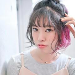 ヘアアレンジ 暗髪 インナーカラー ガーリー ヘアスタイルや髪型の写真・画像