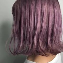 外国人風カラー ボブ ストリート ラベンダーピンク ヘアスタイルや髪型の写真・画像