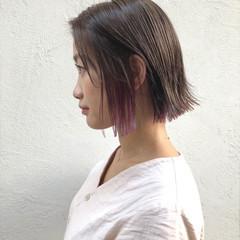 ナチュラル 簡単ヘアアレンジ 切りっぱなし レッド ヘアスタイルや髪型の写真・画像