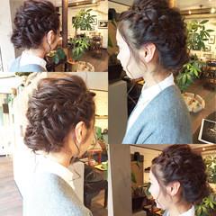 フィッシュボーン ヘアアレンジ セミロング 編み込み ヘアスタイルや髪型の写真・画像