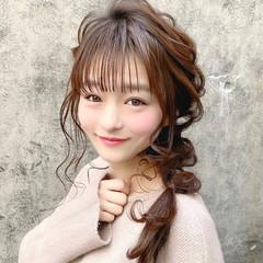 結婚式ヘアアレンジ 編みおろし セミロング ヘアアレンジ ヘアスタイルや髪型の写真・画像