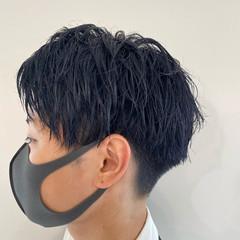 メンズヘア 韓国 メンズ ブルー ヘアスタイルや髪型の写真・画像