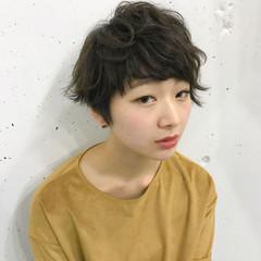 ハイライト ショート アッシュ 黒髪 ヘアスタイルや髪型の写真・画像