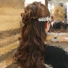 結婚式 上品 エレガント ハーフアップ ヘアスタイルや髪型の写真・画像