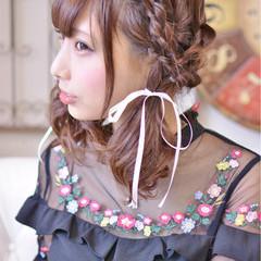セミロング デート ヘアアレンジ ツインテール ヘアスタイルや髪型の写真・画像
