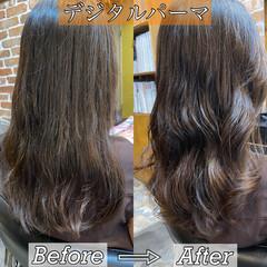 ナチュラル ロング デジタルパーマ 韓国ヘア ヘアスタイルや髪型の写真・画像
