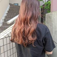 ラベンダーピンク セミロング ピンクベージュ ピンク ヘアスタイルや髪型の写真・画像