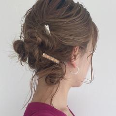 ヘアアレンジ フェミニン セルフヘアアレンジ 簡単ヘアアレンジ ヘアスタイルや髪型の写真・画像