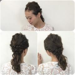 二次会 結婚式 ヘアアレンジ ミディアム ヘアスタイルや髪型の写真・画像