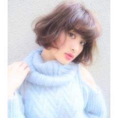 愛され モテ髪 ウェーブ ボブ ヘアスタイルや髪型の写真・画像