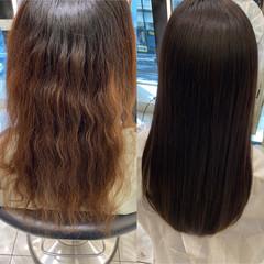 暗髪 縮毛矯正 ナチュラル 髪質改善トリートメント ヘアスタイルや髪型の写真・画像
