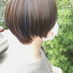 切りっぱなしボブ ショートヘア ベリーショート インナーカラー ヘアスタイルや髪型の写真・画像