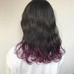 ダブルカラー セミロング ハイトーン 外国人風 ヘアスタイルや髪型の写真・画像