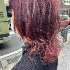 デザインカラー 暖色 ミディアム ピンクパープル ヘアスタイルや髪型の写真・画像