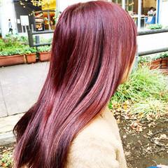ピンク ロング モード レッド ヘアスタイルや髪型の写真・画像