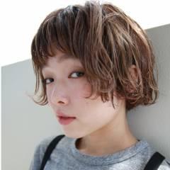 外国人風 ショートバング ショート ボブ ヘアスタイルや髪型の写真・画像