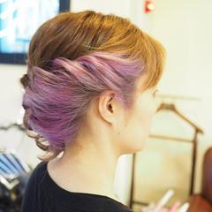 ミディアム パープル インナーカラー ストリート ヘアスタイルや髪型の写真・画像