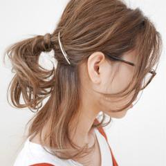 セミロング グラデーションカラー ハイライト ヘアアレンジ ヘアスタイルや髪型の写真・画像