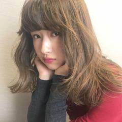 冬 セミロング ゆるふわ 大人かわいい ヘアスタイルや髪型の写真・画像