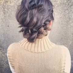 パーティ フェミニン セミロング ヘアアレンジ ヘアスタイルや髪型の写真・画像