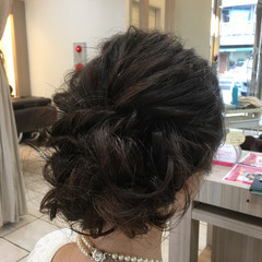 波ウェーブ ブライダル 結婚式 アップスタイル ヘアスタイルや髪型の写真・画像