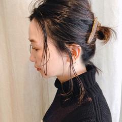 切りっぱなしボブ ハイライト ヘアアレンジ ナチュラル ヘアスタイルや髪型の写真・画像