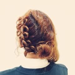 まとめ髪 編み込み ナチュラル フェミニン ヘアスタイルや髪型の写真・画像