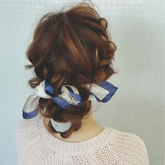 簡単ヘアアレンジ ヘアアクセ バンダナ ヘアアレンジ ヘアスタイルや髪型の写真・画像